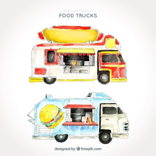 Variety of watercolor food trucks