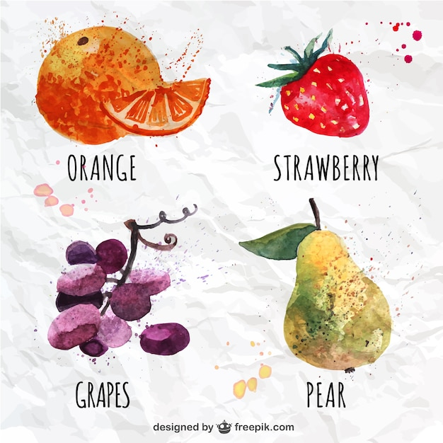 variety of watercolor fruits vector free download