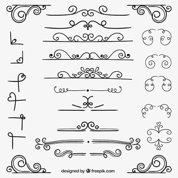 Varietà di decorazione ornamentale Vettore gratuito