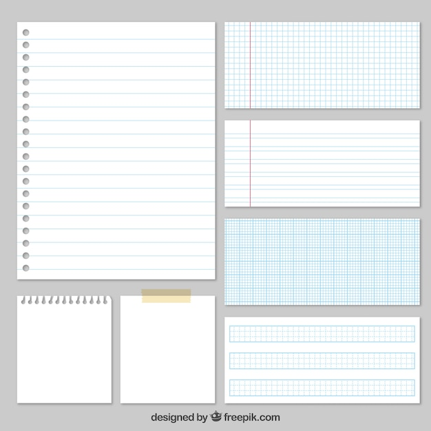 Variety of papers Free Vector