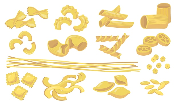 Variety of pasta set. raw wheat macaroni, noodles, penne, ravioli, spaghetti isolated on white background. vector illustration for ingredients, cooking, italian cuisine, food concept Free Vector