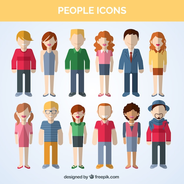 Variety of people icons Free Vector