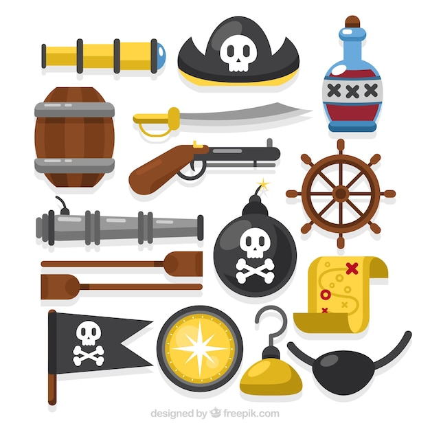 Variety of pirate objects in flat design Free Vector