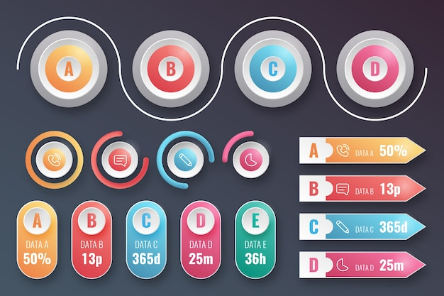 Variety of realistic infographic elements Free Vector