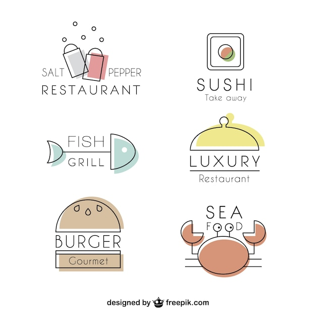 Variety of restaurants lineal logos Free Vector