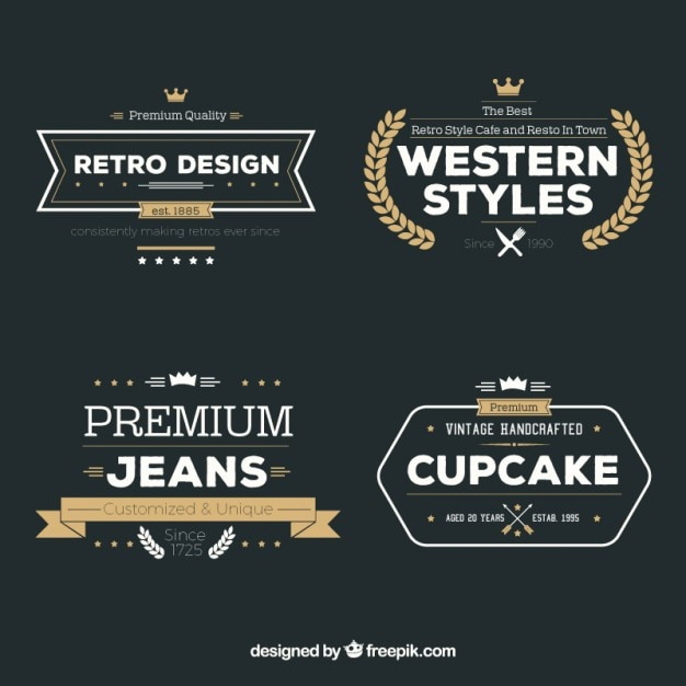 Variety of retro badges Premium Vector