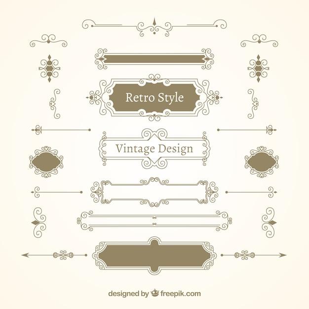 Variety of retro ornaments Premium Vector