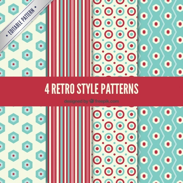 Variety of retro patterns Free Vector