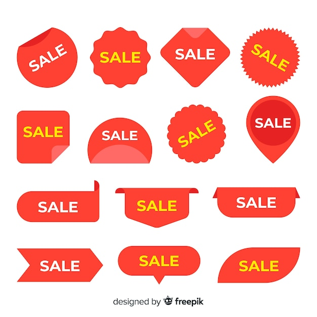Variety of sales label collection Free Vector