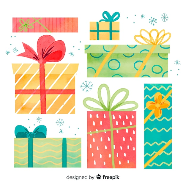 Variety of sizes and forms of christmas gift boxes Free Vector