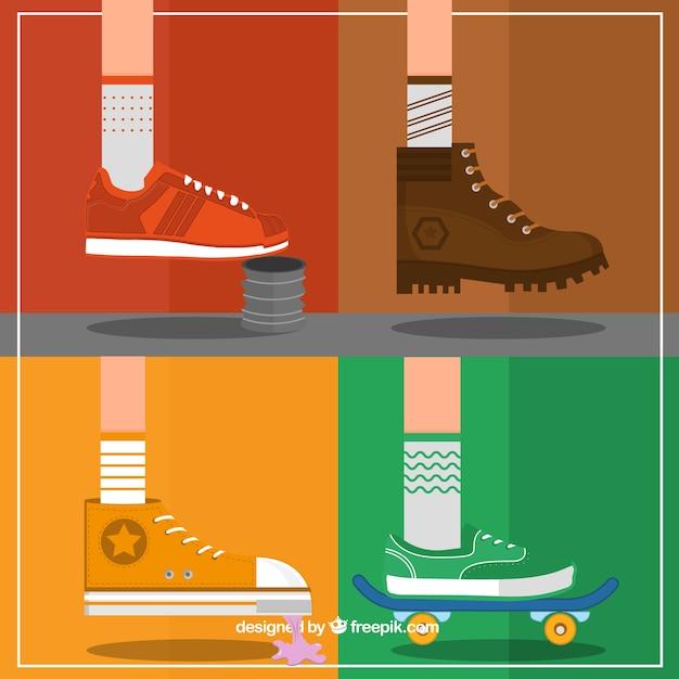 Variety of sneakers Premium Vector
