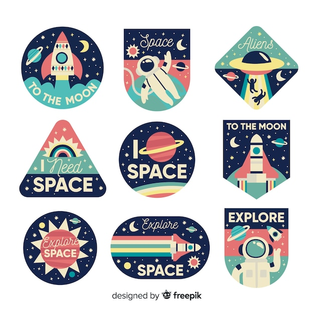 Variety of spaceships sticker collection Free Vector