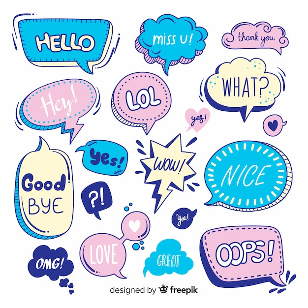 Variety of speech bubbles with messages Free Vector