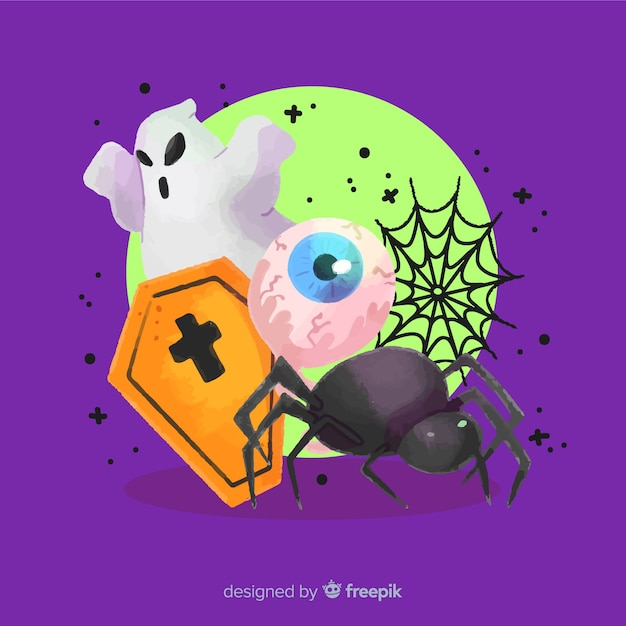 Variety of spooky halloween elements background Free Vector
