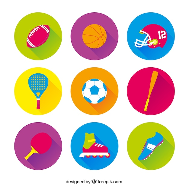 Variety of sport icons Free Vector