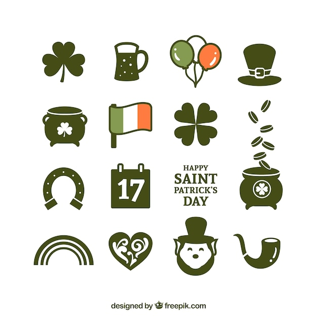 Variety of st patricks day icons Free Vector