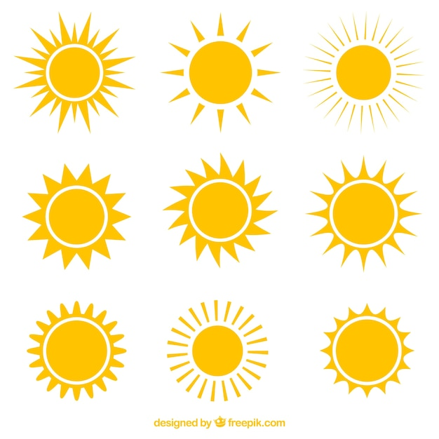 Variety of suns icons Free Vector