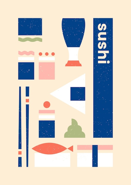 Variety of sushi geometric print template poster Free Vector