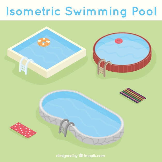Variety of swimming pools Free Vector