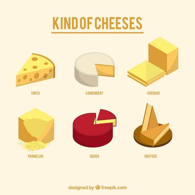 Variety of tasty cheeses Free Vector