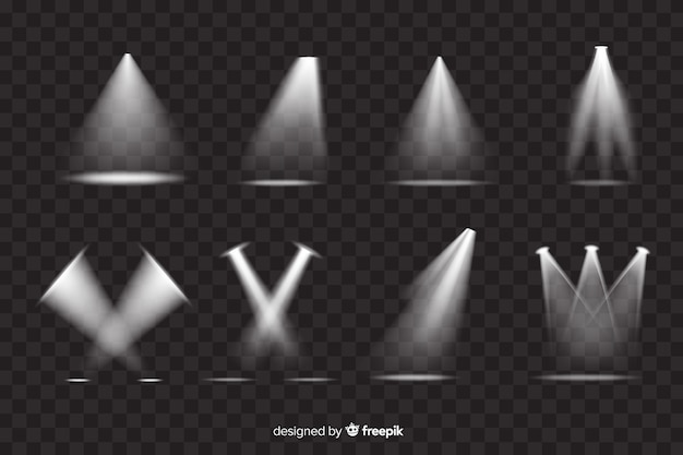 Variety of theatre spotlight collection Free Vector