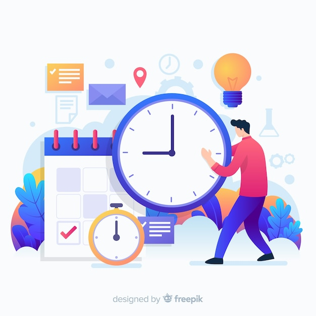 Variety of time objects and a man landing page Free Vector