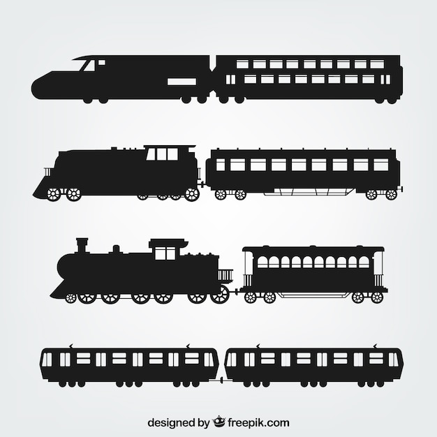 Variety of train silhouettes Free Vector