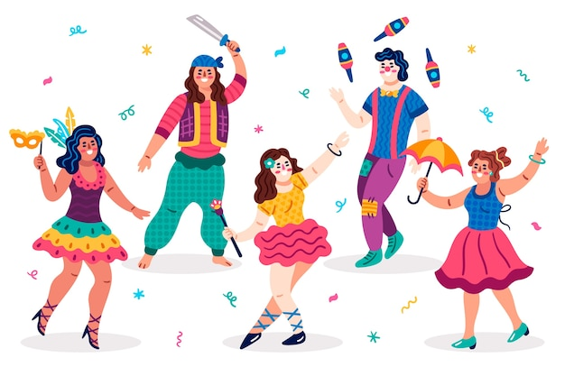 Variety of types of clothes carnival dancers Free Vector
