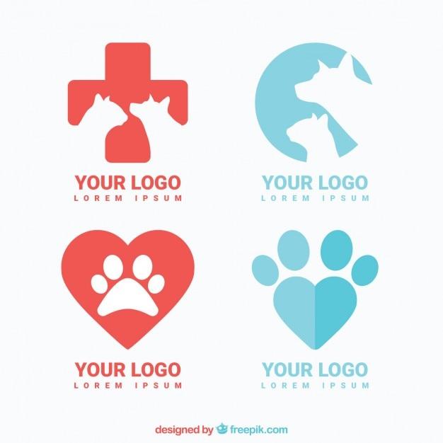 Variety of vet logos Free Vector