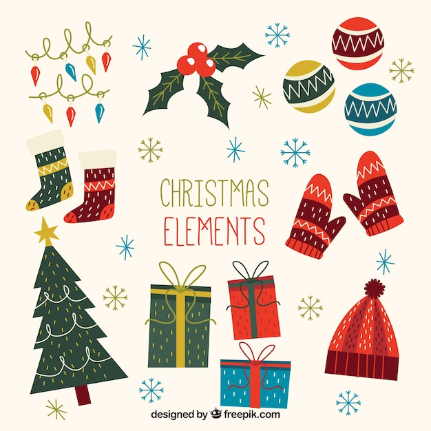Variety of vintage christmas decoration Free Vector
