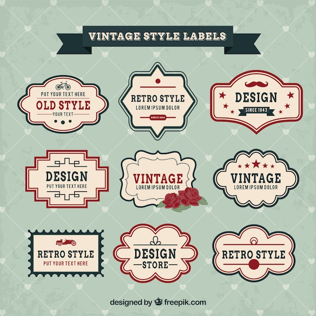 Variety of vintage labels Free Vector