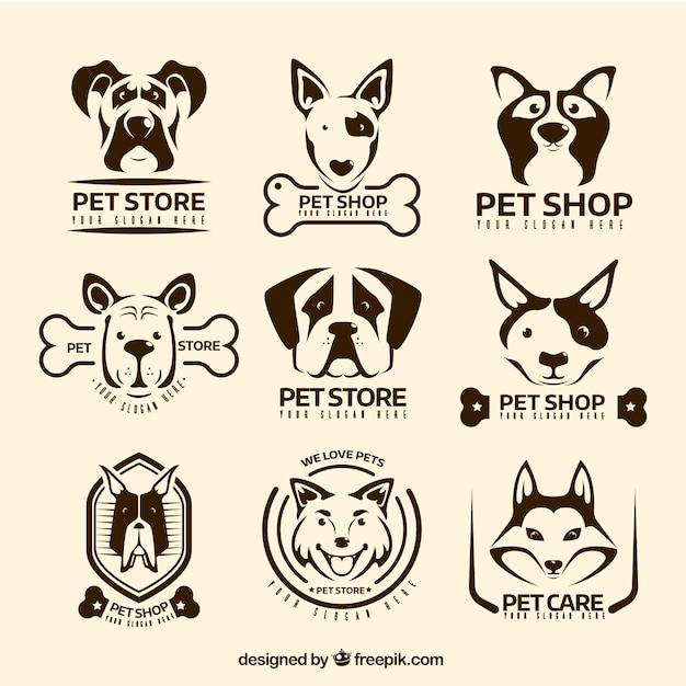 Varietà di loghi d'epoca con i cani decorativi Vettore gratuito