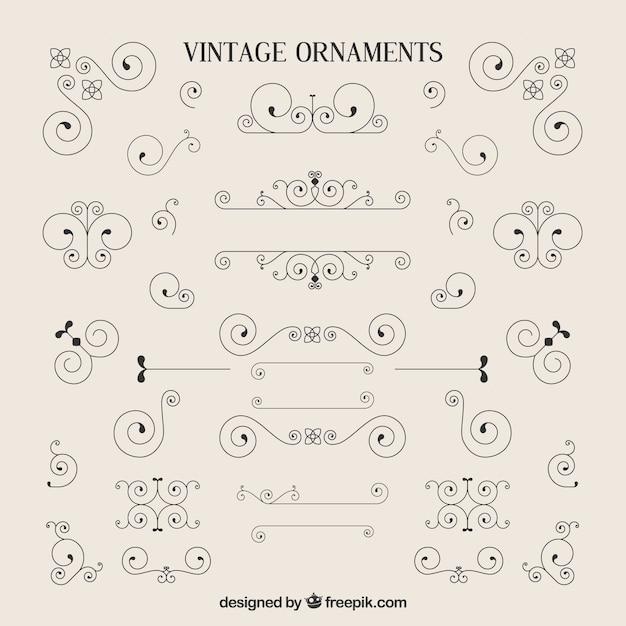 Variety of vintage ornaments Free Vector