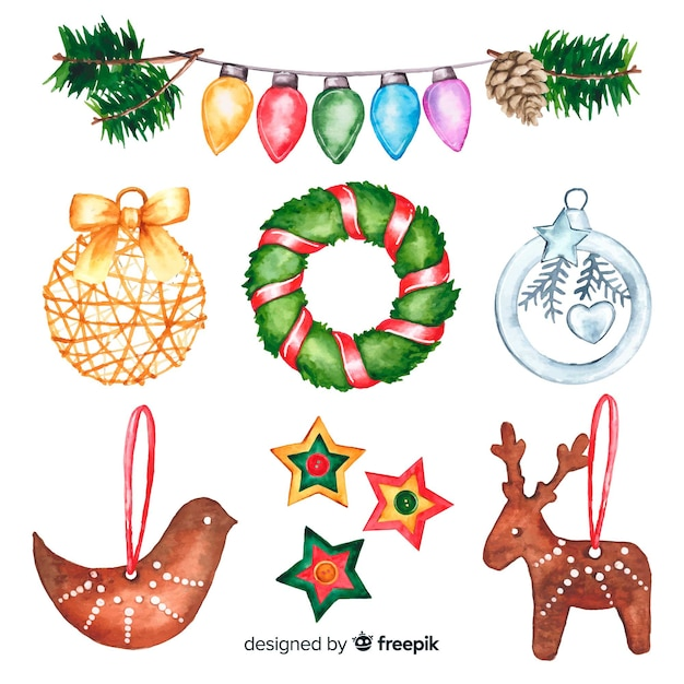 Variety of watercolour christmas decoration Free Vector
