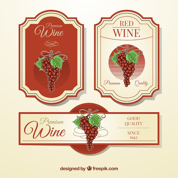Variety Of Wine Labels With Red Elements Vector