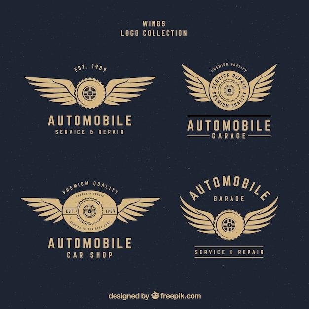 Variety of wings logos in vintage style Premium Vector