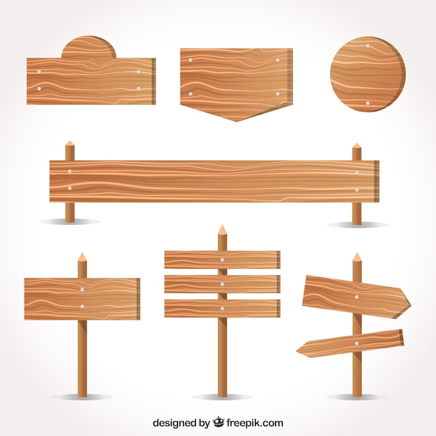 Variety of wood signs in flat design Free Vector