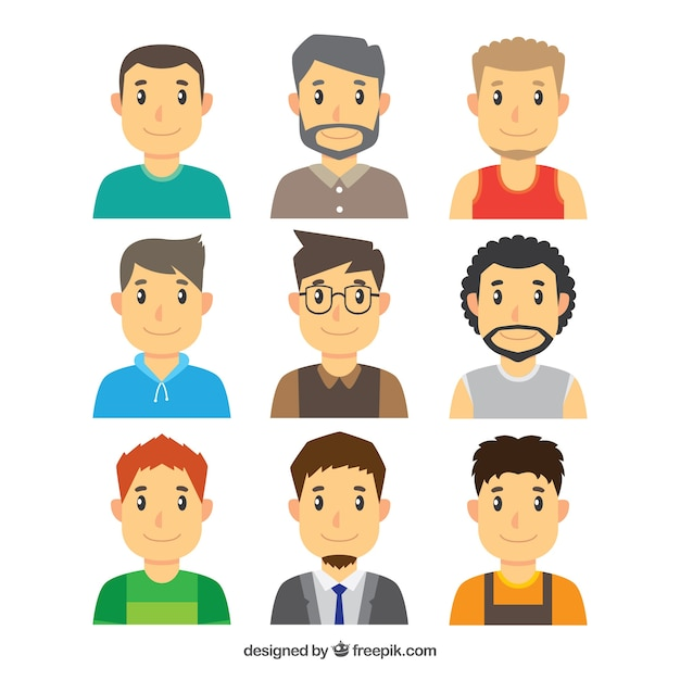 Variety of young men avatars Free Vector