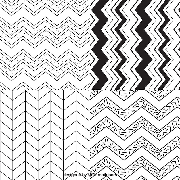 Variety of zig zag patterns Vector | Free Download