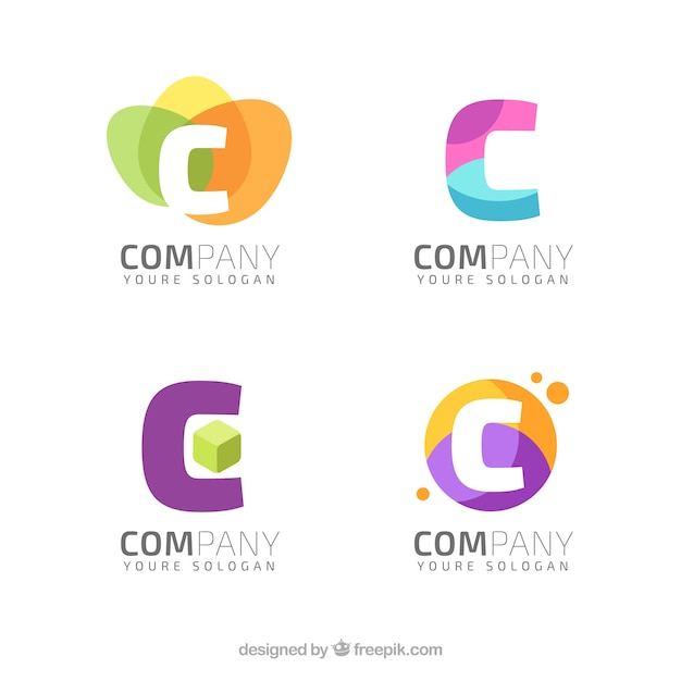 various abstract modern logos of letter quotcquot vector free