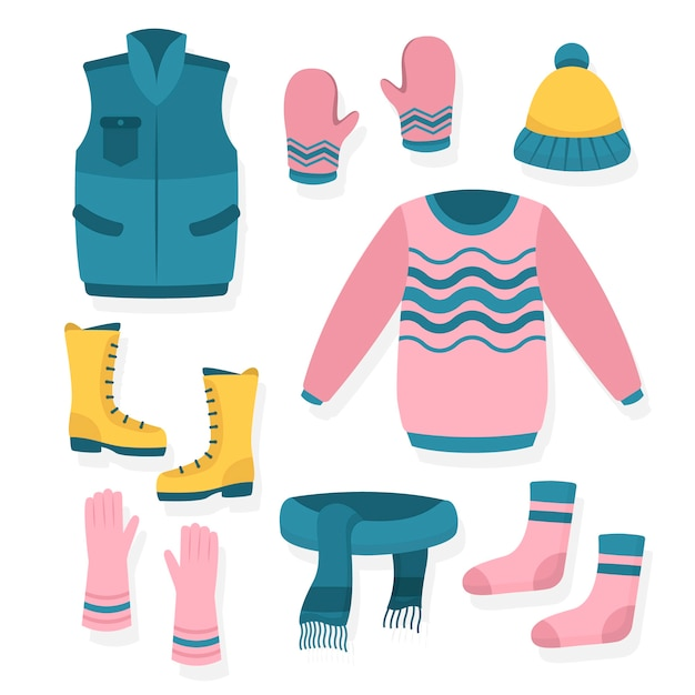 Various accessories and clothes for winter Free Vector