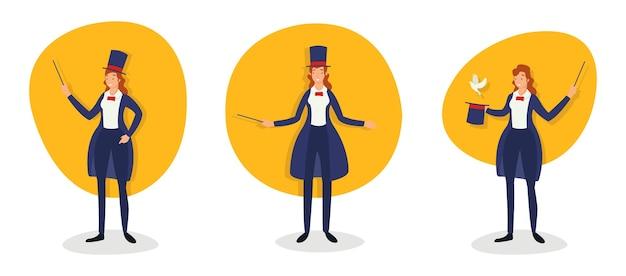 Различные действия женщины-фокусника в волшебном шоу Premium векторы