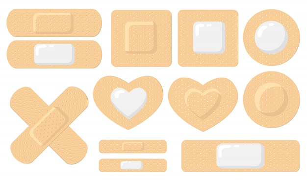 Various adhesive medical plasters flat icon set Free Vector