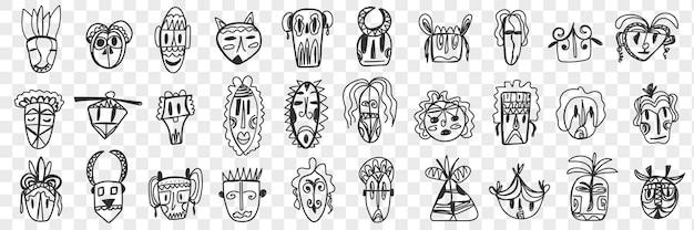 Набор различных африканских древних масок каракули. коллекция рисованной маски для лица африканских национальностей с различными узорами и формами изолированы. Premium векторы