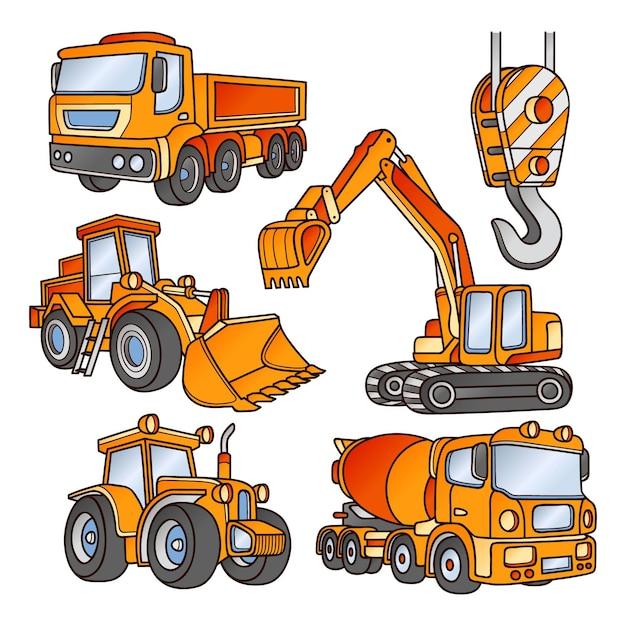 Vari angoli e prospettive degli escavatori Vettore gratuito
