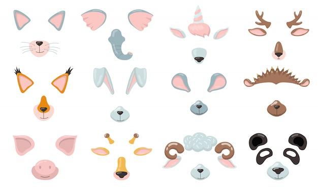 Набор различных масок для телефона с животными Бесплатные векторы