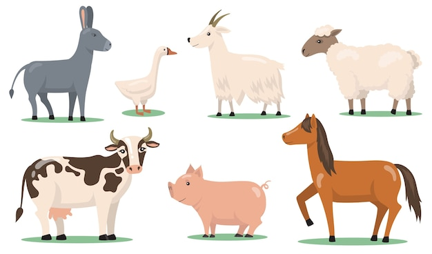 Various animals and pets on farm flat clipart set. cartoon characters of horse, sheep, pig, goat, goose and donkey isolated vector illustration collection. Free Vector