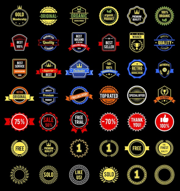 Various badges and labels Free Vector