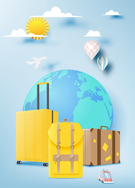 Various bag and luggage for travel Premium Vector