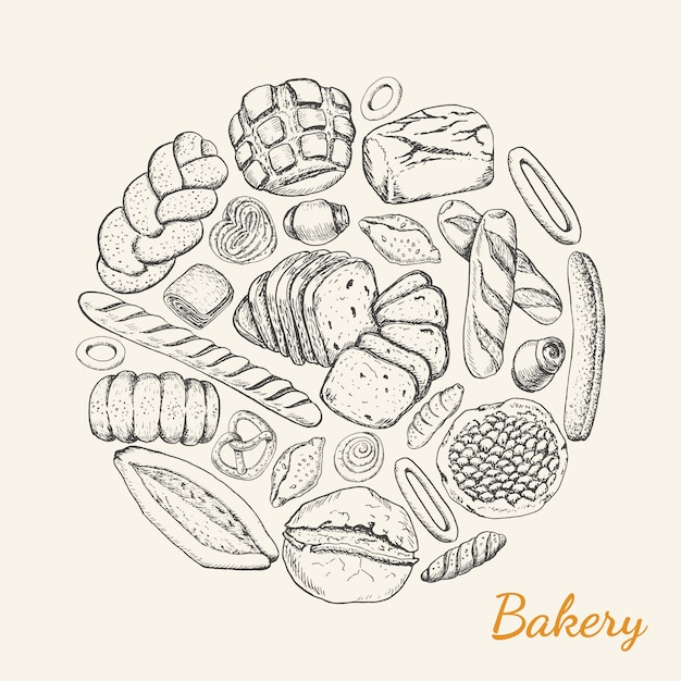 Various bakery products arranged in a circle Premium Vector